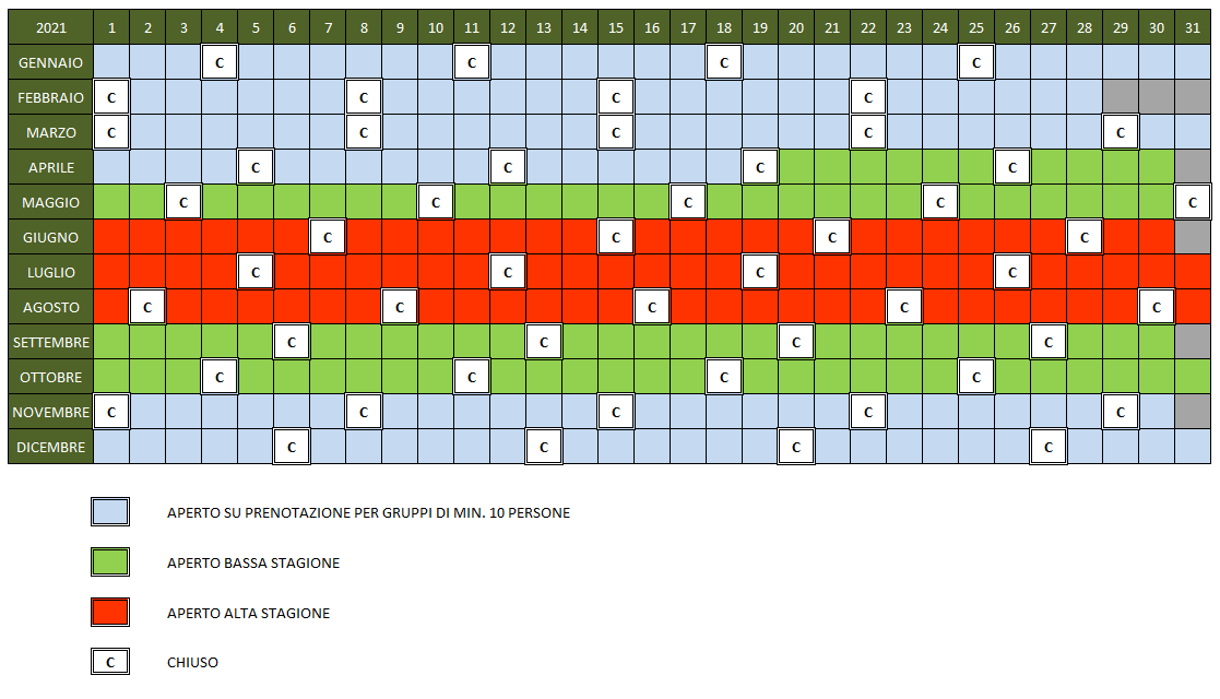 Calendario Apertura Parco degli Elfi
